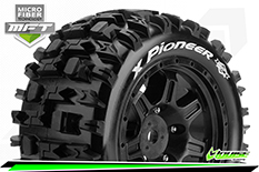 Louise RC - MFT - X-PIONEER - X-Maxx Serie Tire Set - Mounted - Sport - Black Wheels - Hex 24mm - L-T3296B