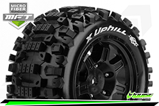 Louise RC - MFT - X-UPHILL - X-Maxx Serie Tire Set - Mounted - Sport - Black Wheels - Hex 24mm - L-T3297B