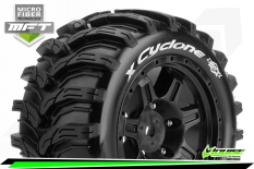 Louise RC - MFT - X-CYCLONE - KRATON 8S Serie Tire Set - Mounted - Sport - Black Wheels - Hex 24mm - L-T3298BM