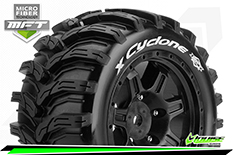 Louise RC - MFT - X-CYCLONE - X-Maxx Serie Tire Set - Mounted - Sport - Black Wheels - Hex 24mm - L-T3298B
