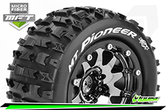 Louise RC - MFT - MT-PIONEER - 1-10 Monster Truck Tire Set - Mounted - Sport - Black Chrome 2.8 Bead-Lock Wheels - 1/2-Offset - Hex 12mm  - L-T3308SBCH