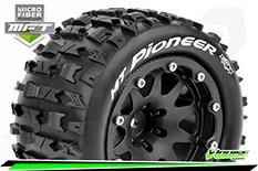 Louise RC - MFT - MT-PIONEER - 1-10 Monster Truck Tire Set - Mounted - Sport - Black 2.8 Bead-Lock Wheels - 1/2-Offset - Hex 12mm  - L-T3308SBH