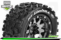 Louise RC - MFT - MT-UPHILL - 1-10 Monster Truck Tire Set - Mounted - Sport - Black Chrome 2.8 Bead-Lock Wheels - 1/2-Offset - Hex 12mm  - L-T3309SBCH