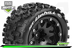 Louise RC - MFT - MT-UPHILL - 1-10 Monster Truck Tire Set - Mounted - Sport - Black 2.8 Bead-Lock Wheels - 1/2-Offset - Hex 12mm  - L-T3309SBH