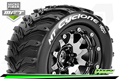 Louise RC - MFT - MT-CYCLONE - 1-10 Monster Truck Tire Set - Mounted - Sport - Black Chrome 2.8 Bead-Lock Wheels - 1/2-Offset - Hex 12mm  - L-T3310SBCH