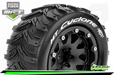 Louise RC - MFT - MT-CYCLONE - 1-10 Monster Truck Tire Set - Mounted - Sport - Black 2.8 Bead-Lock Wheels - 1/2-Offset - Hex 12mm  - L-T3310SBH