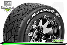 Louise RC - MFT - ST-ROCKET - 1-10 Monster Truck Tire Set - Mounted - Sport - Black Chrome 2.8 Bead-Lock Wheels - 1/2-Offset - Hex 12mm  - L-T3311SBCH