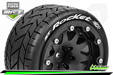 Louise RC - MFT - ST-ROCKET - 1-10 Monster Truck Tire Set - Mounted - Sport - Black 2.8 Bead-Lock Wheels - 1/2-Offset - Hex 12mm  - L-T3311SBH