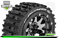 Louise RC - MFT - ST-PIONEER - 1-10 Monster Truck Tire Set - Mounted - Sport - Black Chrome 2.8 Bead-Lock Wheels - 1/2-Offset - Hex 12mm  - L-T3312SBCH