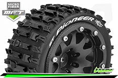 Louise RC - MFT - ST-PIONEER - 1-10 Monster Truck Tire Set - Mounted - Sport - Black 2.8 Bead-Lock Wheels - 1/2-Offset - Hex 12mm  - L-T3312SBH