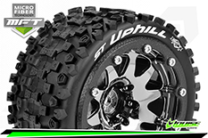 Louise RC - MFT - ST-UPHILL - 1-10 Monster Truck Tire Set - Mounted - Sport - Black Chrome 2.8 Bead-Lock Wheels - 1/2-Offset - Hex 12mm  - L-T3313SBCH