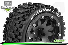 Louise RC - MFT - ST-UPHILL - 1-10 Monster Truck Tire Set - Mounted - Sport - Black 2.8 Bead-Lock Wheels - 1/2-Offset - Hex 12mm  - L-T3313SBH