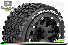 Louise RC - MFT - ST-HUMMER - 1-10 Monster Truck Tire Set - Mounted - Sport - Black 2.8 Bead-Lock Wheels - 1/2-Offset - Hex 12mm  - L-T3314SBH