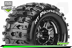Louise RC - MFT - MT-PIONEER - 1-8 Monster Truck Tire Set - Mounted - Sport - Black Chrome 3.8 Bead Style Wheels - 1/2-Offset - Hex 17mm - L-T3321BCH