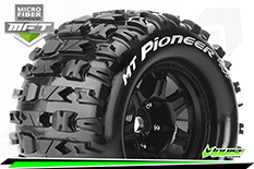 Louise RC - MFT - MT-PIONEER - 1-8 Monster Truck Tire Set - Mounted - Sport - Black 3.8 Bead Style Wheels - 1/2-Offset - Hex 17mm - L-T3321BH