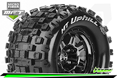 Louise RC - MFT - MT-UPHILL - 1-8 Monster Truck Tire Set - Mounted - Sport - Black Chrome 3.8 Bead Style Wheels - 1/2-Offset - Hex 17mm - L-T3322BCH