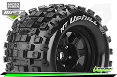 Louise RC - MFT - MT-UPHILL - 1-8 Monster Truck Tire Set - Mounted - Sport - Black 3.8 Bead Style Wheels - 1/2-Offset - Hex 17mm - L-T3322BH