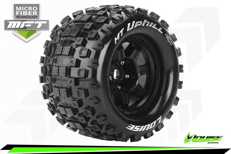 Louise RC - MFT - MT-UPHILL - 1-8 Monster Truck Tire Set - Mounted - Sport - Black 3.8 Bead Style Wheels - 0-Offset - Hex 17mm - L-T3322B