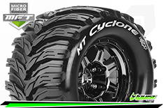 Louise RC - MFT - MT-CYCLONE - 1-8 Monster Truck Tire Set - Mounted - Sport - Black Chrome 3.8 Bead Style Wheels - 1/2-Offset - Hex 17mm - L-T3323BCH