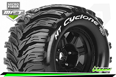 Louise RC - MFT - MT-CYCLONE - 1-8 Monster Truck Tire Set - Mounted - Sport - Black 3.8 Bead Style Wheels - 1/2-Offset - Hex 17mm - L-T3323BH