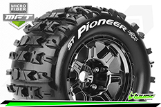 Louise RC - MFT - ST-PIONEER - 1-8 Stadium Truck Tire Set - Mounted - Sport - Black Chrome 3.8 Bead Style Wheels - 1/2-Offset - Hex 17mm - L-T3325BCH