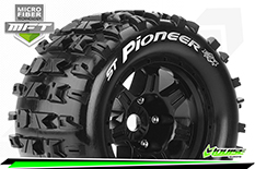 Louise RC - MFT - ST-PIONEER - 1-8 Stadium Truck Tire Set - Mounted - Sport - Black 3.8 Bead Style Wheels - 1/2-Offset - Hex 17mm - L-T3325BH