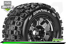 Louise RC - MFT - ST-UPHILL - 1-8 Stadium Truck Tire Set - Mounted - Sport - Black Chrome 3.8 Bead Style Wheels - 1/2-Offset - Hex 17mm - L-T3326BCH