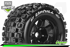 Louise RC - MFT - ST-UPHILL - 1-8 Stadium Truck Tire Set - Mounted - Sport - Black 3.8 Bead Style Wheels - 0-Offset - Hex 17mm - L-T3326B