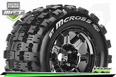 Louise RC - MFT - ST-MCROSS - 1-8 Stadium Truck Tire Set - Mounted - Sport - Black Chrome 3.8 Bead Style Wheels - 0-Offset - Hex 17mm - L-T3327BC