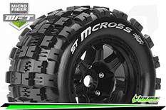 Louise RC - MFT - ST-MCROSS - 1-8 Stadium Truck Tire Set - Mounted - Sport - Black 3.8 Bead Style Wheels - 0-Offset - Hex 17mm - L-T3327B