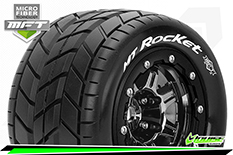 Louise RC - MFT - MT-ROCKET - Maxx Tire Set - Mounted - Sport - Black Chrome 3.8 Bead-Lock Wheels - 1/2-Offset - Hex 17mm - L-T3328SBC
