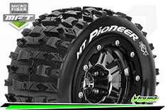 Louise RC - MFT - MT-PIONEER - Maxx Tire Set - Mounted - Sport - Black Chrome 3.8 Bead-Lock Wheels - 1/2-Offset - Hex 17mm - L-T3329SBC