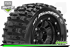 Louise RC - MFT - MT-PIONEER - Maxx Tire Set - Mounted - Sport - Black 3.8 Bead-Lock Wheels - 1/2-Offset - Hex 17mm - L-T3329SB