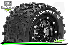 Louise RC - MFT - MT-UPHILL - Maxx Tire Set - Mounted - Sport - Black Chrome 3.8 Bead-Lock Wheels - 1/2-Offset - Hex 17mm - L-T3330SBC
