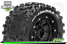Louise RC - MFT - MT-UPHILL - Maxx Tire Set - Mounted - Sport - Black 3.8 Bead-Lock Wheels - 1/2-Offset - Hex 17mm - L-T3330SB