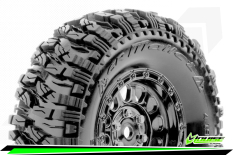 Louise RC - CR-MALLET - Class 1 - 1-10 Crawler Tire Set - Mounted - Super Soft - Black Chrome 1.9 Wheels - Hex 12mm - L-T3346VBC