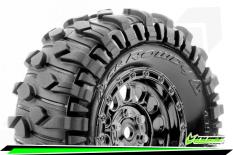 Louise RC - CR-ROWDY - Class 1 - 1-10 Crawler Tire Set - Mounted - Super Soft - Black Chrome 1.9 Wheels - Hex 12mm - L-T3347VBC