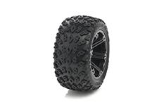 Medial Pro - Sport Tires glued on Rims - Dirt Crusher 2.8 - Black Rims - Front Jato, Nitro Sport, Nitro Rustler