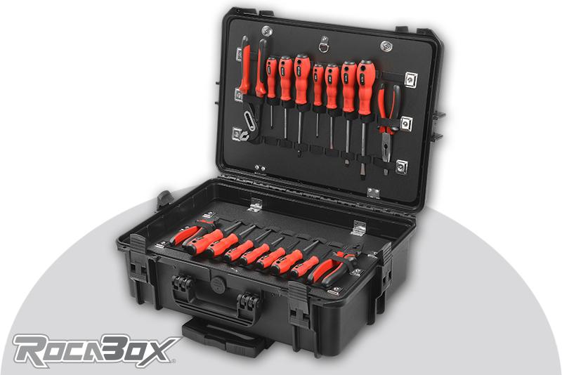 Rocabox - Waterproof IP67 Tool Trolley Case - Black - RW-5035-19-BTTR - Tool Holder