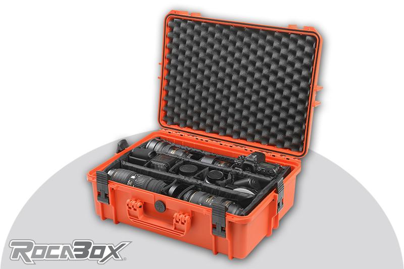 Rocabox - Waterproof IP67 Camera Case - Orange - RW-5035-19-OC - Padded Inlay